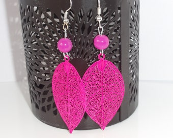 Girly pink filigree leaf earrings