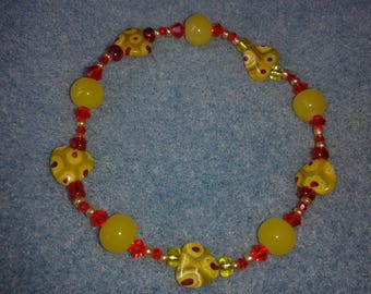 Yellow and red heart bracelet spirit Folklo