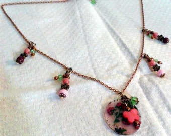 Copper Flower necklace and mother of Pearl Butterfly