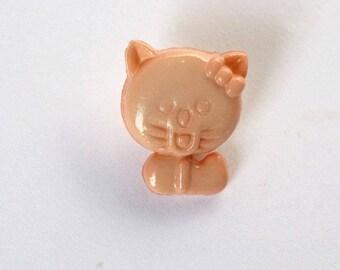 Set of 6 x 14mm peach - 001409 cat buttons