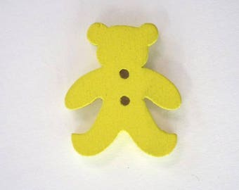 20mm x 10 bear wooden button: yellow - 001876