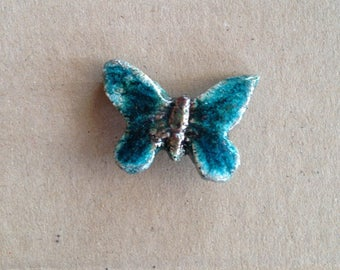 Pearl or button - dark turquoise Butterfly - raku pottery for jewelry, textiles or any other item