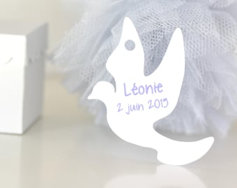 """Personalized labels """"Dove"""" - set of 10/30/50/80/100/125/150"""