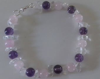 Bracelet stones: Amethyst, rose Quartz and rock crystal