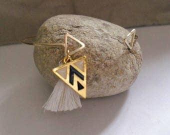 golden triangle and tassel Bangle Bracelet