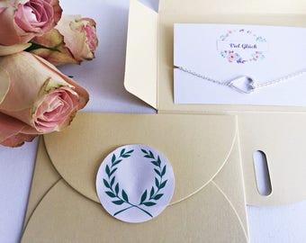 3 x good luck gift: heart bracelet silver card