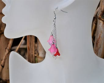 Earrings stainless steel and semi-precious stones / beads of amethyst, quartz and rock crystal / stone of wisdom / bells