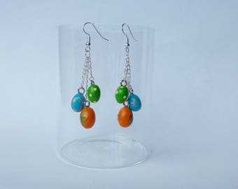 "Earrings ""Easter eggs"" oranges Greens and blues"