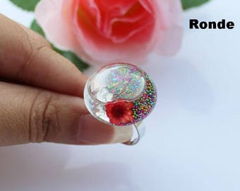 Set of 5 bubble glass 27 X 17 to fill cabochon globe ball snow + SUPPORT ring