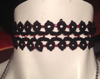Black Pearl Cotton tatting lace Choker glass red tatted lace