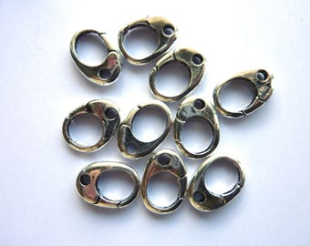 10 clasps steel stainless 16mm x 11mm
