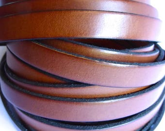 20 cm leather strap Brown cognac 10 mm flat