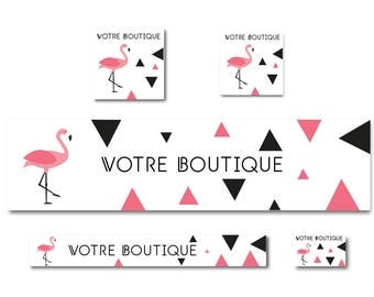 Etsy shop graphics, Flamingo Pink and black banner