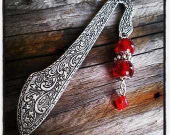 Silver bookmark, red cracked glass beads
