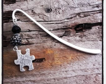 Black puzzle silver charm bookmark