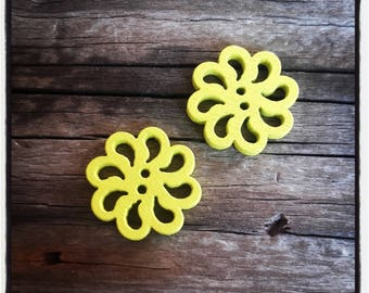 set of 2 fancy wood, rose, yellow flower buttons