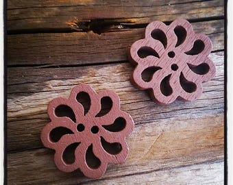 set of 2 fancy wood, rose, Brown flower buttons