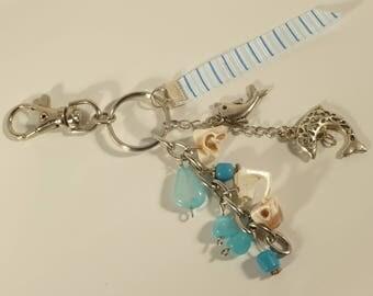 keychain or handbag charm dolphin and shell