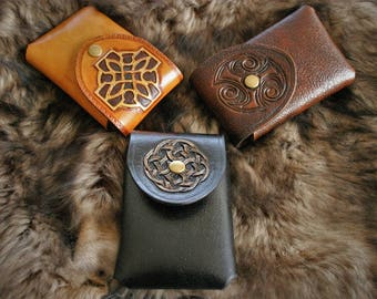 Belt for cell phone cases type medieval Celtic embossed leather