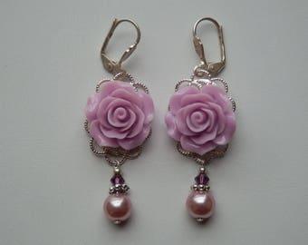 "Earrings ""Les Roses"" Purple filigree"