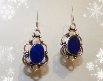 Filigree circle earrings Silver 925 and lapis lazuli