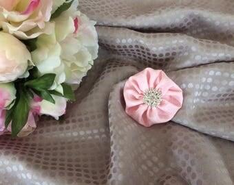 Pink flower 5.5 cm Silk Satin with Rhinestones