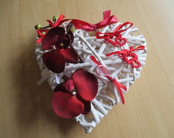 Wedding ring pillow, rattan, red and white heart