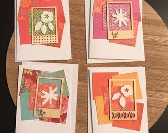 "Set of 4 A2 Blank Notecards 5.5""x4.25"" White Base Embellished"