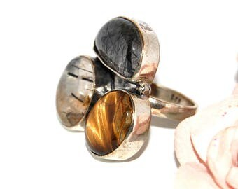Ring trio in rock crystal, quartz, Tiger eye and 925 Silver - size 55