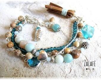Bracelet jasper-amazonite-pompon-semi-precious stones-bracelet turquoise-zen mala holidays-bohemian-gypsy-hippy chic-boho-bobo