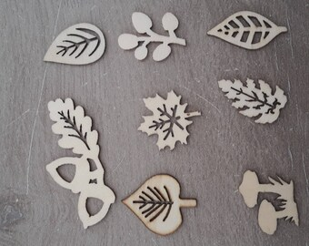 Wooden leaves figures