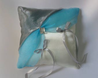 Gray and turquoise ring bearer pillow