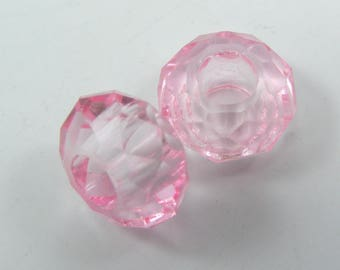 Set of 2 European beads 14 mm round faceted glass translucent pink