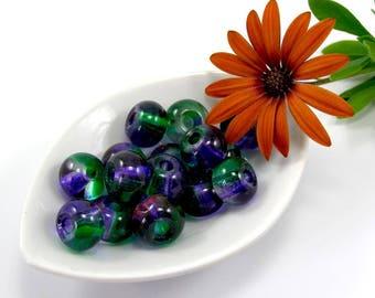 European beads 12 mm purple green translucent glass set of 2