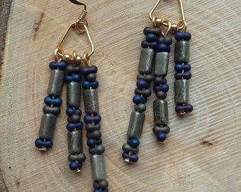 Gunmetal and Blue/Purple Chandelier Gold Earrings
