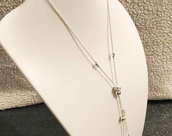 Medium length necklace original silver two rows