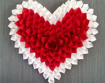 Wall decorative heart red and White Pearl wedding christening room possible other colors