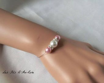 "Bracelet ""Blue"" with Pearl & Pink Pearl powder"