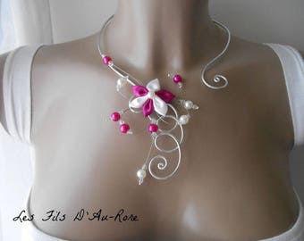 BELLA Flower necklace with fuchsia satin and white flower