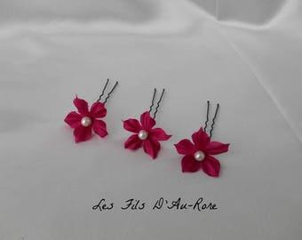 Set of 3 fuchsia silk flower hair pins