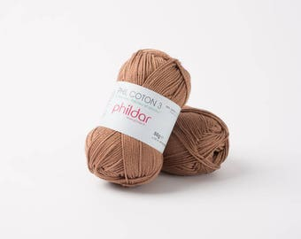 phildar PHIL thread cotton 3 cappuccino color yarn