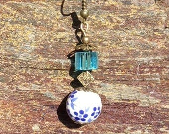 Earrings Goda goda bronze square blue