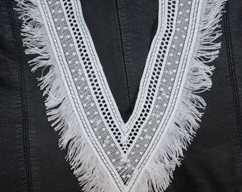 1 bib white V neck