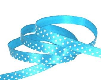 Satin ribbon / white polka dots TURQUOISE / width 10mm, 50cm cut