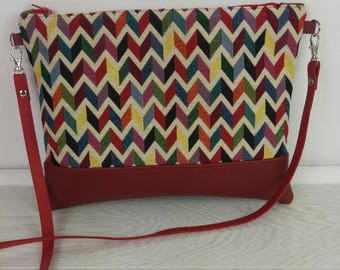 Old faux red and multicolor chevron jacquard pouch