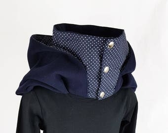 Snood hooded Navy Blue lining with white dots