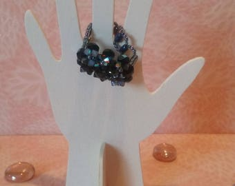 Ring black iridescent beads-