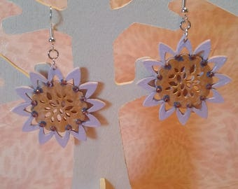 Earrings - purple flowers and gold