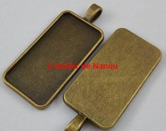 vintage antique bronze rectangle pendant