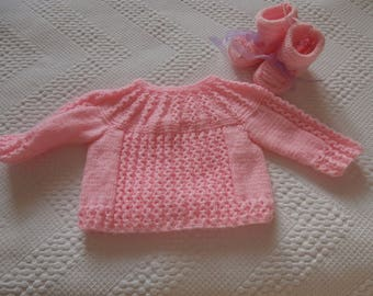Bra and matching slippers for girl from 0 to 3 months